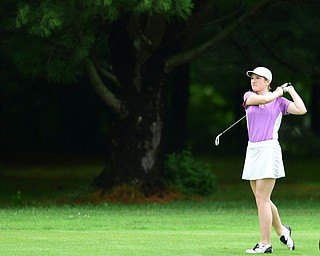 HERMITAGE, PENNSYLVANIA - JUNE 19, 2015: Hannah Keffler of Canfield watches as her approach shot flies toward the green on the 13th hole Friday morning at Tam O' Shanter during the Vindy Greatest Golfer junior qualifier. DAVID DERMER | THE VINDICATOR