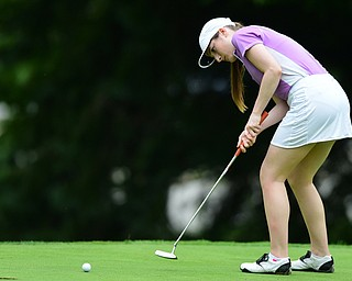HERMITAGE, PENNSYLVANIA - JUNE 19, 2015: Hannah Keffler of Canfield follows through on her putt on the 13th hole Friday morning at Tam O' Shanter during the Vindy Greatest Golfer junior qualifier. DAVID DERMER | THE VINDICATOR