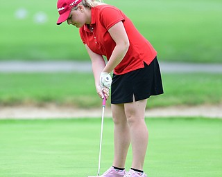 HERMITAGE, PENNSYLVANIA - JUNE 19, 2015: Kaci Carpenter of Canfield follows through on her putt on the 17th hole Friday morning at Tam O' Shanter during the Vindy Greatest Golfer junior qualifier. DAVID DERMER | THE VINDICATOR
