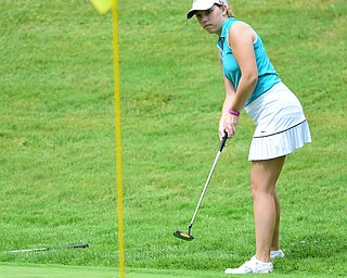 HERMITAGE, PENNSYLVANIA - JUNE 19, 2015: Nicolette Eddy of Niles follows through on her putt on the 17th hole Friday morning at Tam O' Shanter during the Vindy Greatest Golfer junior qualifier. DAVID DERMER | THE VINDICATOR