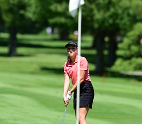 WARREN, OHIO - JULY 16, 2015: Kristin Shelley of Canfield watches as her putt breaks away from the hole on the 1st hole Thursday afternoon during a Vindy Greatest Golfer qualifying Tournament. DAVID DERMER | THE VINDICATOR
