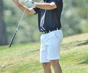 Jeff Lange | The Vindicator  AUGUST 23, 2015 - Scott Porter of Canfield reacts to his shot from the No. 1 rough during Sunday's Greatest Golfer of the Valley tournament held at Lake Club in Poland.