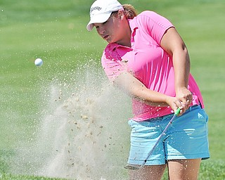 Jeff Lange | The Vindicator  AUGUST 23, 2015 - North Lima native Ariel Witmer of Farmville, VA blasts her way out of the bunker at hole 7 during Sunday's Greatest Golfer of the Valley tournament at the Lake Club. Wilmer captured the women's Greatest Golfer title with a final score of 227.