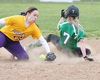 William d Lewis the vindicator  WB's Grace Heath(7) is safe at 2nd as Champions Megan Turner(15) looses control of the ball during 5-6-16 game.