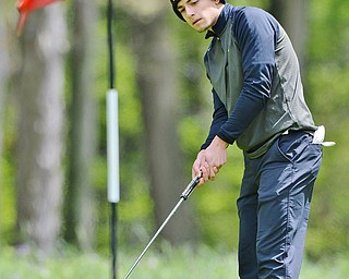 Jeff Lange   The Vindicator  SUN, MAY 15, 2016 - Girard's Anthony Graziano makes a putt to the pin at hole five during Sunday's Greatest Golfer of the Valley junior event in Vienna.