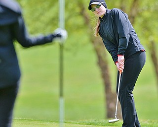Jeff Lange   The Vindicator  SUN, MAY 15, 2016 - Canfield's Hannah Keffler putts to the pin at hole three Sunday afternoon during the Greatest Golfer of the Valley junior event in Vienna.