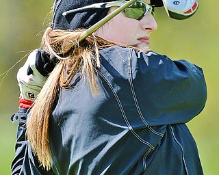 Jeff Lange   The Vindicator  SUN, MAY 15, 2016 - Canfield's Hannah Keffler watches her approach shot from the fourth fairway during Sunday's Greatest Golfer of the Valley junior event in Vienna.