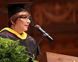 Nikos Frazier | The Vindicator..Diane Mastro Nard, a retired Cardinal Mooney High School teacher, addressed the class of 2016 in Stambaugh Auditorium on Sunday, May 29, 2016.