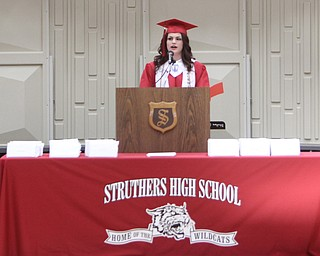 "Class Valedictorian, Kaitlin Fuschillo, gives her speech titled ""The Journey Ahead of Us"" during the Struthers High School Commencement on Sunday afternoon.   Dustin Livesay 
