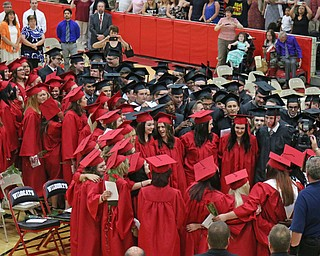 The graduating class of Struthers High School form a circle while singing the alma mater to conclude the Struthers High School Commencement on Sunday afternoon.   Dustin Livesay   |   The Vindicator 5/29/16  Struthers High School