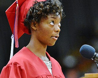 Jeff Lange | The Vindicator  SUN, MAY 29, 2016 - MCCTC graduate Precious Mitchell delivers a speech to her peers during Sunday's commencement at Austintown Fitch High School.