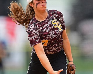 AKRON, OHIO - JUNE 4, 2016: Pitcher Caragyn Yanek #7 of South Range throws a pitch in the second inning of Saturday afternoons Division 3 State Title game at Firestone Stadium. Wheelersburg won 8-3. DAVID DERMER | THE VINDICATOR