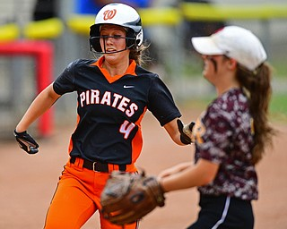 AKRON, OHIO - JUNE 4, 2016: Kasey Bergan #4 of Wheelersburg runs home to score a run after a wild pitch from Caragyn Yanek #7 of South Range in the third inning of Saturday afternoons Division 3 State Title game at Firestone Stadium. Wheelersburg won 8-3. DAVID DERMER | THE VINDICATOR