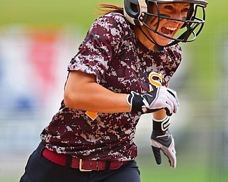 AKRON, OHIO - JUNE 4, 2016: Felecia Gaeta #1 of South Range celebrates after blasting a three run home run in the fifth inning of Saturday afternoons Division 3 State Title game at Firestone Stadium. Wheelersburg won 8-3. DAVID DERMER | THE VINDICATOR