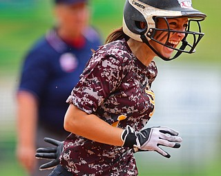 AKRON, OHIO - JUNE 4, 2016: Felecia Gaeta #1 of South Range celebrates after blasting a three run home run in the fifth inning of Saturday afternoons Division 3 State Title game at Firestone Stadium. Wheelersburg won 8-3. DAVID DERMER   THE VINDICATOR