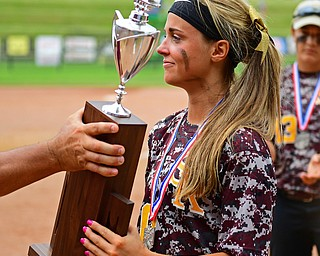 AKRON, OHIO - JUNE 4, 2016: Morgan Caopur #20 of South Range smiles while being handed the Division 3 State Runner-Up trophy after being defeated in Saturday afternoons Division 3 State Title game at Firestone Stadium. Wheelersburg won 8-3. DAVID DERMER | THE VINDICATOR