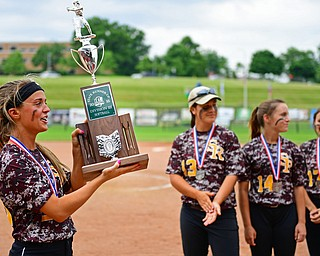 AKRON, OHIO - JUNE 4, 2016: Morgan Caopur #20 of South Range smiles while showing the Division 3 State Runner-Up trophy to the fans in the stands after being defeated in Saturday afternoons Division 3 State Title game at Firestone Stadium. Wheelersburg won 8-3. DAVID DERMER | THE VINDICATOR