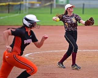 AKRON, OHIO - JUNE 4, 2016: Pitcher Caragyn Yanek #7 of South Range throws the ball to first for the out during Saturday afternoons Division 3 State Title game at Firestone Stadium. Wheelersburg won 8-3. DAVID DERMER | THE VINDICATOR