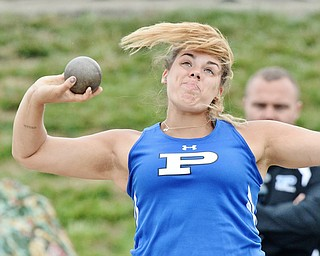 Jeff Lange | The Vindicator  SAT, JUN 4, 2016 - Poland's Juliana Kreatsoulas competes in the Division II girls shot put event during the OHSAA State Track and Field tournament in Columbus on Saturday.