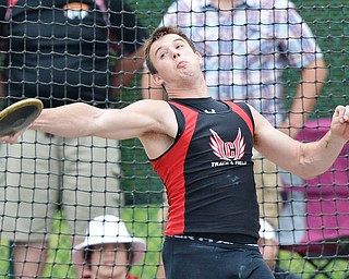 Jeff Lange | The Vindicator  SAT, JUN 4, 2016 - Canfield's Andrew Hallof competes in the boys discus event during Saturday's OHSAA State Track and Field tournament in Columbus.