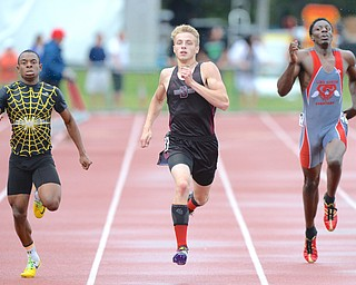 Jeff Lange   The Vindicator  SAT, JUN 4, 2016 - Boardman's Brendon Lucas (center) competes against Watkins Memorial's Desmond Melson (left)  and Lima Senior's Rico Stafford in the 400 meter dash during Saturday's OHSAA State Track and Field tournament in Columbus.
