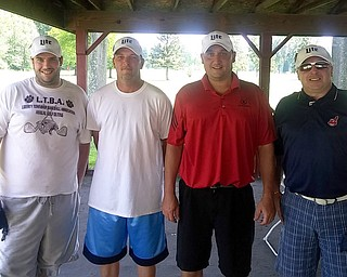 Winners of the Relay for Life outing at Old Avalon (L to R): Matt Everly, Mike Everly, Ken Flanigan, Lee Padula. They shot 12 under 59.