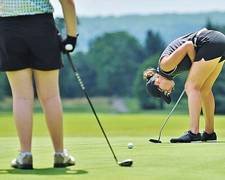 Jeff Lange | The Vindicator  FRI, JUN 24. 2016 - Emily Koehler of Mathews reacts in frustration as her putt comes up short during Friday's Greatest Golfer of the Valley Junior competition at Tam O'Shanter Golf Course in Hermitage, Pa.
