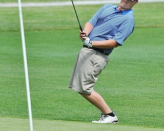 Matt Kinkela of New Wilimington attempts to coax his ball to the No. 10 hole during Wednesday's 2016 Flynn Auto Group Junior Greatest Golfer of the Valley tournament Wednesday at Mill Creek South Course. Kinkela placed U-17...--Jeff Lange | The Vindicator  WED, JUN 29, 2016