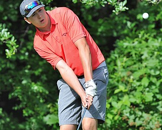 Bryan Kordupel of Boardman chips onto the No. 3 green during Wednesday's 2016 Flynn Auto Group Junior Greatest Golfer of the Valley tournament Wednesday at Mill Creek South Course. Kordupel placed U-17...--Jeff Lange | The Vindicator  WED, JUN 29, 2016