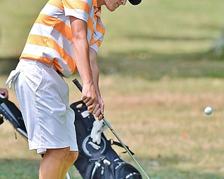Jeff Lange | The Vindicator  FRI, JUL 22, 2016 - Boardman's Cade Kreps chips onto the No. 3 fairway during Friday's Greatest Golfer of the Valley Junior finals held at Avalon at Squaw Creek.