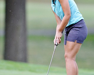 Jeff Lange | The Vindicator  FRI, JUL 22, 2016 - Boardman's Jenna Vivo watches her putt to hole seven during Friday's Greatest Golfer of the Valley Junior finals held at Avalon at Squaw Creek.