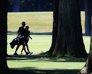 Jeff Lange | The Vindicator  SAT, JULY 23, 2016 - A golfer and her caddy search for her ball in the woods during Saturday's Greatest Golfer of the Valley Junior finals held at Avalon Lakes in Vienna.