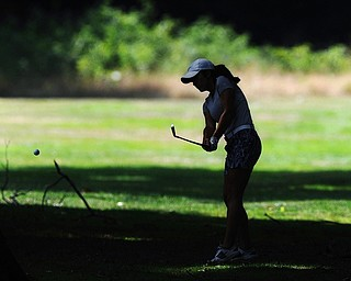 Jeff Lange | The Vindicator  FRI, AUG 19, 2016 - YSU's Mia Barchetti plays out of the woods on South No. 2 during the first round of the 2016 Farmers Bank Greatest Golfer of the Valley competition held at Mill Creek Golf Course on Friday, Aug. 19, 2016.