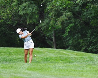 Jeff Lange | The Vindicator  SUN, AUG 21, 2016 -  YSU's Mia Barchetti tees off on No. 17 during the final round of the 2016 Farmers Bank Greatest Golfer of the Valley competition held at the Lake Club in Poland, Sunday, Aug. 21, 2016.