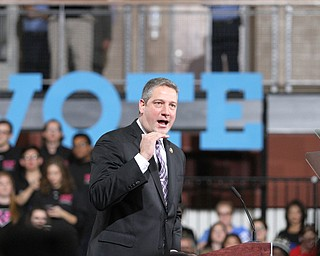 Kent, Ohio: Monday, Oct. 31, 2016..Rep. Tim Ryan(D-Ohio)rials up supporters before Democratic presidential nominee, Hillary Clinton speaks at the Kent State University Recreation & Wellness Center in Kent, Ohio. (Nikos Frazier | The Vindicator)