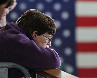 Kent, Ohio: Monday, Oct. 31, 2016..A supporter listens to Democratic presidential nominee, Hillary Clinton speaks at the Kent State University Recreation & Wellness Center in Kent, Ohio. (Nikos Frazier | The Vindicator)