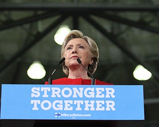 Kent, Ohio: Monday, Oct. 31, 2016..Democratic presidential nominee, Hillary Clinton speaks at the Kent State University Recreation & Wellness Center in Kent, Ohio. (Nikos Frazier | The Vindicator)
