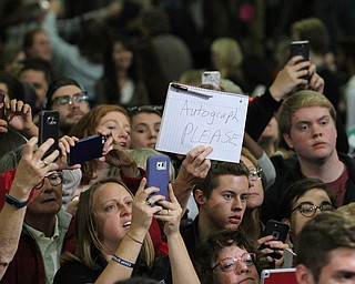 Kent, Ohio: Monday, Oct. 31, 2016..Supporters wait to shake hands with Democratic presidential nominee, Hillary Clinton after a rally at the Kent State University Recreation & Wellness Center in Kent, Ohio. (Nikos Frazier | The Vindicator)