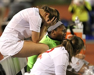 Solon, Ohio: Tuesday, Nov. 1, 2016..Mooney players react to Gilmour's lead in the first half as Cardinal Mooney High School takes on Gilmour Academy at the Division III girls soccer regional semifinal at Stewart Field in Solon, Ohio on Tuesday, Nov. 1, 2016...(Nikos Frazier | The Vindicator