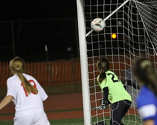 Solon, Ohio: Tuesday, Nov. 1, 2016..Mooney's Goalie, Skyler Huda(21) watches as the ball sails into the net in the first half as Cardinal Mooney High School takes on Gilmour Academy at the Division III girls soccer regional semifinal at Stewart Field in Solon, Ohio on Tuesday, Nov. 1, 2016...(Nikos Frazier | The Vindicator)