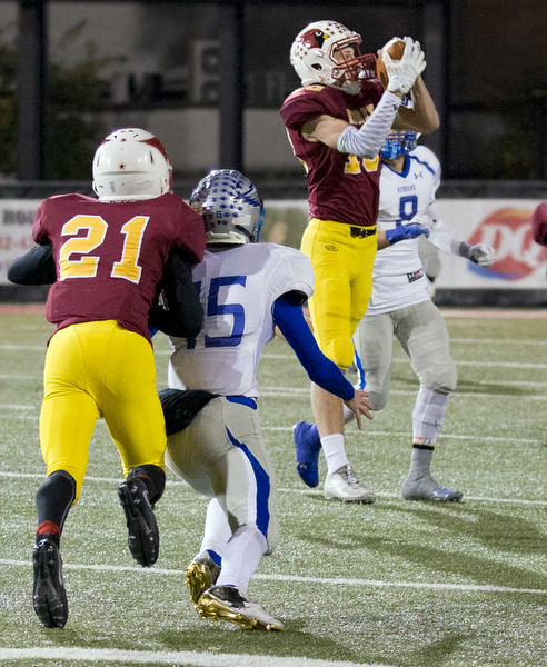 MICHAEL G TAYLOR | THE VINDICATOR- 11-04-16- 3rd qtr, Mooney's #10 Pat Pelini intercepts the attempted pass. OHSAA D4 Football Playoffs Hubbard Eagles vs Cardinal Mooney Cardinals at Stambaugh Stadium, YSU in Youngstown, OH