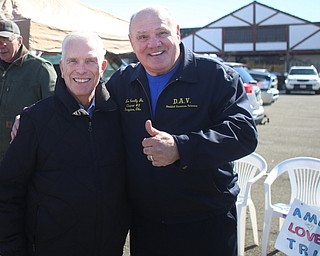 Rep. Bill Johnson(R-Ohio 6th) and Leo Connelly, Jr. pose for a photo at the Summitville Tile parking lot on 224, Saturday, March 4, 2017 in Boardman. ..(Nikos Frazier | The Vindicator)..
