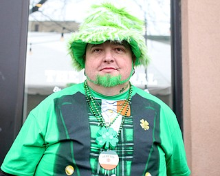 Mike Richmond of Youngstown poses for a photo outside of The Federal during Sham-Rock on the Block, Friday, March 17, 2017, in downtown Youngstown. ..(Nikos Frazier | The Vindicator)..