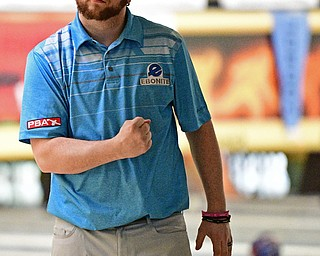 HUBBARD, OHIO - MARCH 19, 2017: Samuel DeWitt III of Neville Island, Pennsylvania pumps his fist after rolling a strike during a qualifying round of the PBA Trumbull County Tourism Bureau Central/East Open, Sunday afternoon at Bell-Wick Bowl.