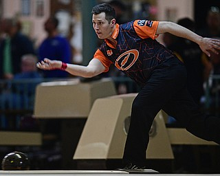 HUBBARD, OHIO - MARCH 19, 2017: Matthew O'Grady of Rahway, New Jersey throws his ball during a qualifying round of the PBA Trumbull County Tourism Bureau Central/East Open, Sunday afternoon at Bell-Wick Bowl.