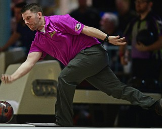 HUBBARD, OHIO - MARCH 19, 2017: Joe Bailey of Wooster, Ohio throws his ball during a qualifying round of the PBA Trumbull County Tourism Bureau Central/East Open, Sunday afternoon at Bell-Wick Bowl.
