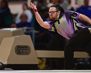 HUBBARD, OHIO - MARCH 19, 2017: C.J. Kirchmer of Herrin, Illinois throws his ball during a qualifying round of the PBA Trumbull County Tourism Bureau Central/East Open, Sunday afternoon at Bell-Wick Bowl.