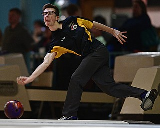 HUBBARD, OHIO - MARCH 19, 2017: Marcus McClain of Allen Park, Michigan throws his ball during a qualifying round of the PBA Trumbull County Tourism Bureau Central/East Open, Sunday afternoon at Bell-Wick Bowl.