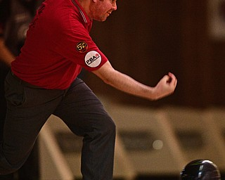 HUBBARD, OHIO - MARCH 19, 2017: Michael Clark Jr. of Cleveland, Ohio throws his ball during a qualifying round of the PBA Trumbull County Tourism Bureau Central/East Open, Sunday afternoon at Bell-Wick Bowl.