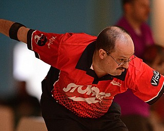 HUBBARD, OHIO - MARCH 19, 2017: Rick Graham of Lancaster, Pennsylvania throws his ball during a qualifying round of the PBA Trumbull County Tourism Bureau Central/East Open, Sunday afternoon at Bell-Wick Bowl.